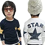 Hattfart Little Boy's Long-Sleeve Star Print T-Shirt Soft Shirts Cotton Casual Toddler Tops (White, 90)