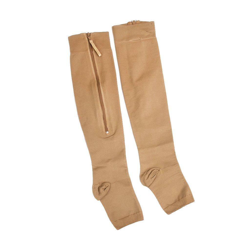 1 paire Chaussettes Montantes de Compression Sculptante Zippée à Bout Ouvert