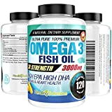 Ultra Pure Omega 3 Fish Oil (Triple Strength - 3000mg Per Serving) 120 Softgels High EPA and DHA...