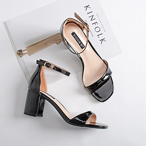 GAOLIM La Mujer Tacones Altos Zapatos De Tacón, Sandalias De Correa Ranurados Hembra Grueso, Con Terraza De Verano Y Ranurados Para Mujer Sandalias Negro1