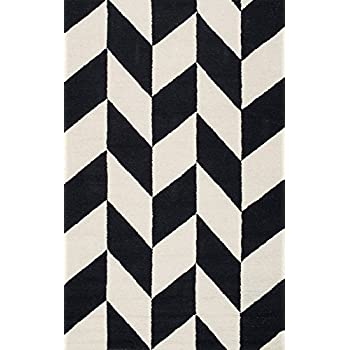nuLOOM Handmade Retro Checker Tiles Black and White Area Rugs, 4 x 6, Black and White