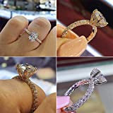Fake Diamond Ring, Morenitor Silver Plated Princess Eternity Ring CZ Band Wedding Engagement Rings for Women, 7