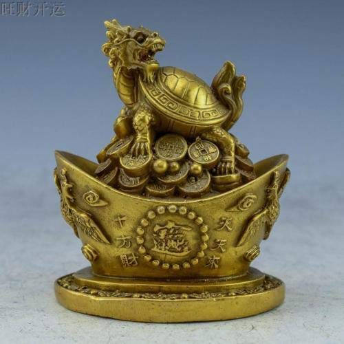 ZAMTAC Antique China Brass Hand Made Dragon Turtle Coin Ingot Dragon & Phoenix Statue