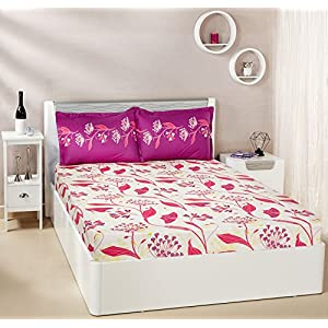 Amazon Brand – Solimo Lily Bloom 144 TC 100% Cotton Double Bedsheet with 2 Pillow Covers, Pink