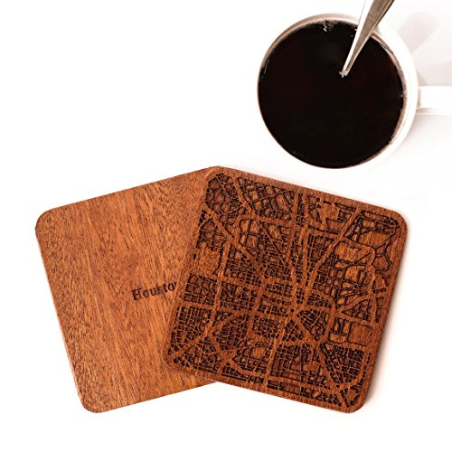 Houston Map Coaster by O3 Design Studio, Set Of 4, Sapele Wooden Coaster With City Map, Handmade