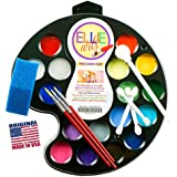 Face Painting Kit for Kids Ellie Arts 16 Color Palette for Professionals or Beginners. All Supplies You Need - 3 precise brushes 2 Sponges & 4 Applicators. Makeup Designs for 160 Faces! SAFE USA Made!