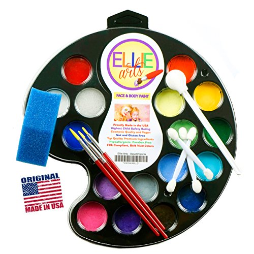 Face Painting Kit for Kids Ellie Arts 16 Color Palette for Professionals or Beginners. All Supplies You Need - 3 precise brushes 2 Sponges & 4 Applicators. Makeup Designs for (Frozen Team Halloween Games)