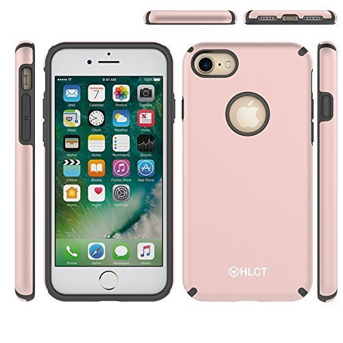Price comparison product image iPhone 7 Case, [4.7 Inch] HLCT Beautiful Design Slim Fit Thin, Interior TPU Bumper & Hard PC Back, Shock-Absorption Hybrid Dual-Layer Cover for iPhone 7 (Rose Gold)