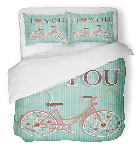 Emvency 3 Piece Duvet Cover Set Breathable Brushed Microfiber Fabric Happy Valentines Day Cute Romantic Woman's Bicycle with Flying Heart Bedding Set with 2 Pillow Covers Twin Size