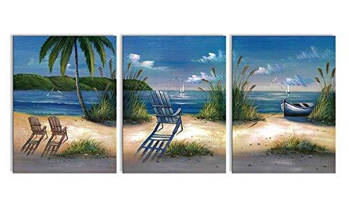 Canvas Prints Sea Beach Painting Printed on Canvas Wall Art Decor - 3 Panels 12