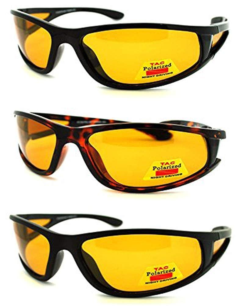Shiny Black Night Driving HD Vision Polarized Sunglasses Yellow Lens100/% UV 400