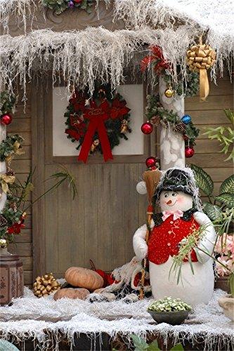 OFILA 3x5ft Photography Background Christmas Backdrop Cute Snowman Broom Log Cabin Decorations Pumpkins Colored Xmas Balls Jingle Bell Children Baby Portraits Photos Video Studio Props ()