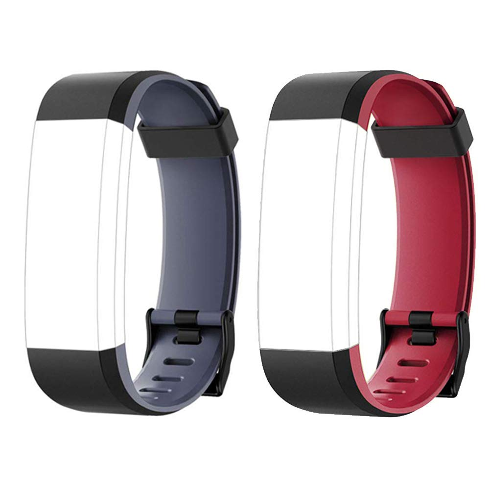 Lintelek Fitness Tracker Color Screen Heart Rate Sleep Monitor Pedometer, Waterproof Activity Tracker Fitness Alarm Watch 14 Sports Modes Men Women Kids (Black-Gray & Black-Red Replacement Bands)