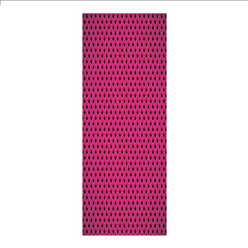 Ylljy00 Decorative Privacy Window Film/Diamond Line Grill Cross Wire Design Logo Digital Motif Image/No-Glue Self Static Cling for Home Bedroom Bathroom Kitchen Office Decor Black Fuchsia