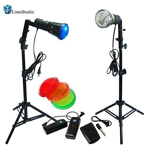 LimoStudio Photography Photo Studio Backlight Slave Strobe Flash Stand Lighting Kit with 4 Color Gel Flash Filters, Trigger, AGG1454 by LimoStudio