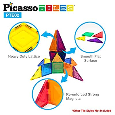 PicassoTiles 12 Pcs Magnetic Building Block Set Right Triangle Magnet Tiles Construction Toy STEM Learning Kit Educational Playset Playboard Pretend Play Stacking Blocks Child Brain Development PTE02: Toys & Games