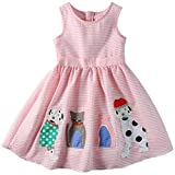 Sharequeen Striped Cotton Big Girls Summer Dress Dog Bird Cat Embroidery Pink Color A090(Pink Stripe, 6 Years)