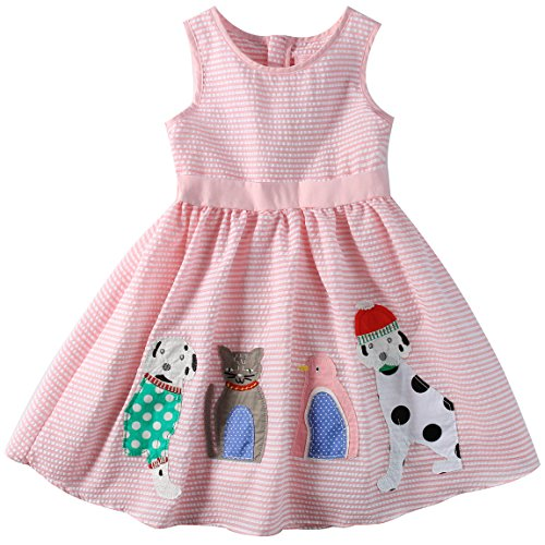 Sharequeen Striped Cotton Big Girls Summer Dress Dog Bird Cat Embroidery Pink Color A090(Pink Stripe, 6 Years) by Sharequeen