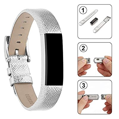For Fitbit Alta HR Band/Fitbit Alta Band, Afoskce Alta/Alta HR Accessory Band Leather Replacement Wristband with Metal Buckle for Fitbit Alta HR and Fitbit Alta