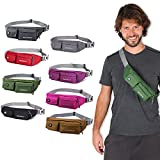 WATERFLY Fanny Pack Slim Soft Polyester Water Resistant Waist Bag for Man Women Carrying Iphone 8 Samsung S6