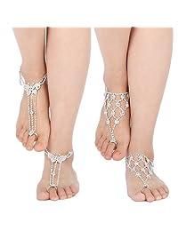 kilofly 2 Pairs Rhinestone Foot Jewelry Barefoot Sandal Beach Wedding Anklet Set