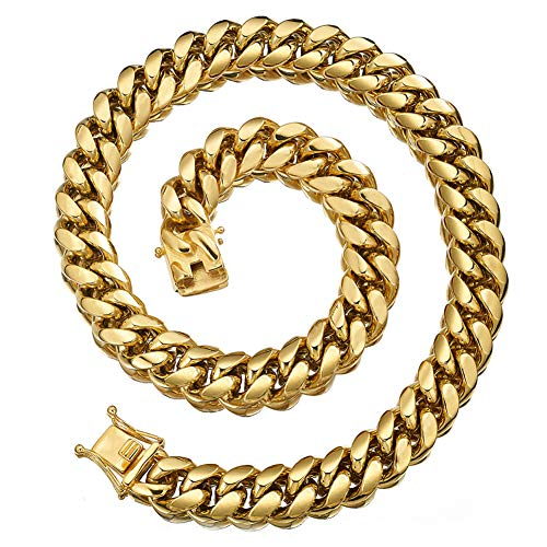 Jewelry Kingdom 1 Mens Necklace 18K Gold Chain Cuban Link Chain for Men's Jewelry, Necklace for Women, Top 316L Stainless Steel(30inches Length, 12MM Width Necklace)
