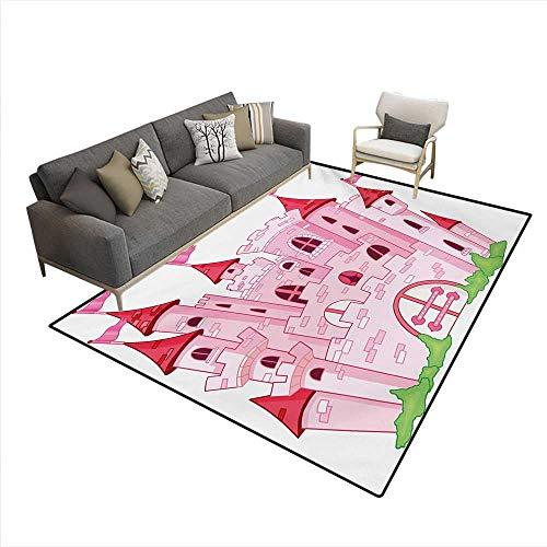 Carpet,Princess Castle Cute Fairy Tale Princess Magic Kingdom Cartoon Illustration Art,Print Area Rug,Pink White,6'x8'