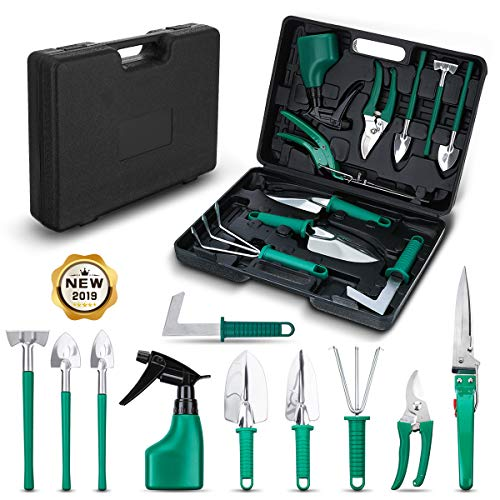 (NASUM 10 Pieces Garden Tools Set - Stainless Steel Gardening Tool Case with Trowel Pruner,Rakes, Shovels,Secateurs,Weeding Knife and more,Vegetable Herb Garden Hand Tools,Gifts for Women&Man)