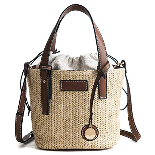 (Women Straw Bag Fashion Totes Handbag Casual Rattan Woven Bag Women's Shoulder Messenger Bags Brown )