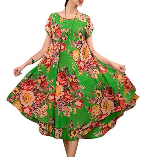 Allbebe Women's Summer Folk Style Short Sleeved Linen Long Cotton Layered Dress