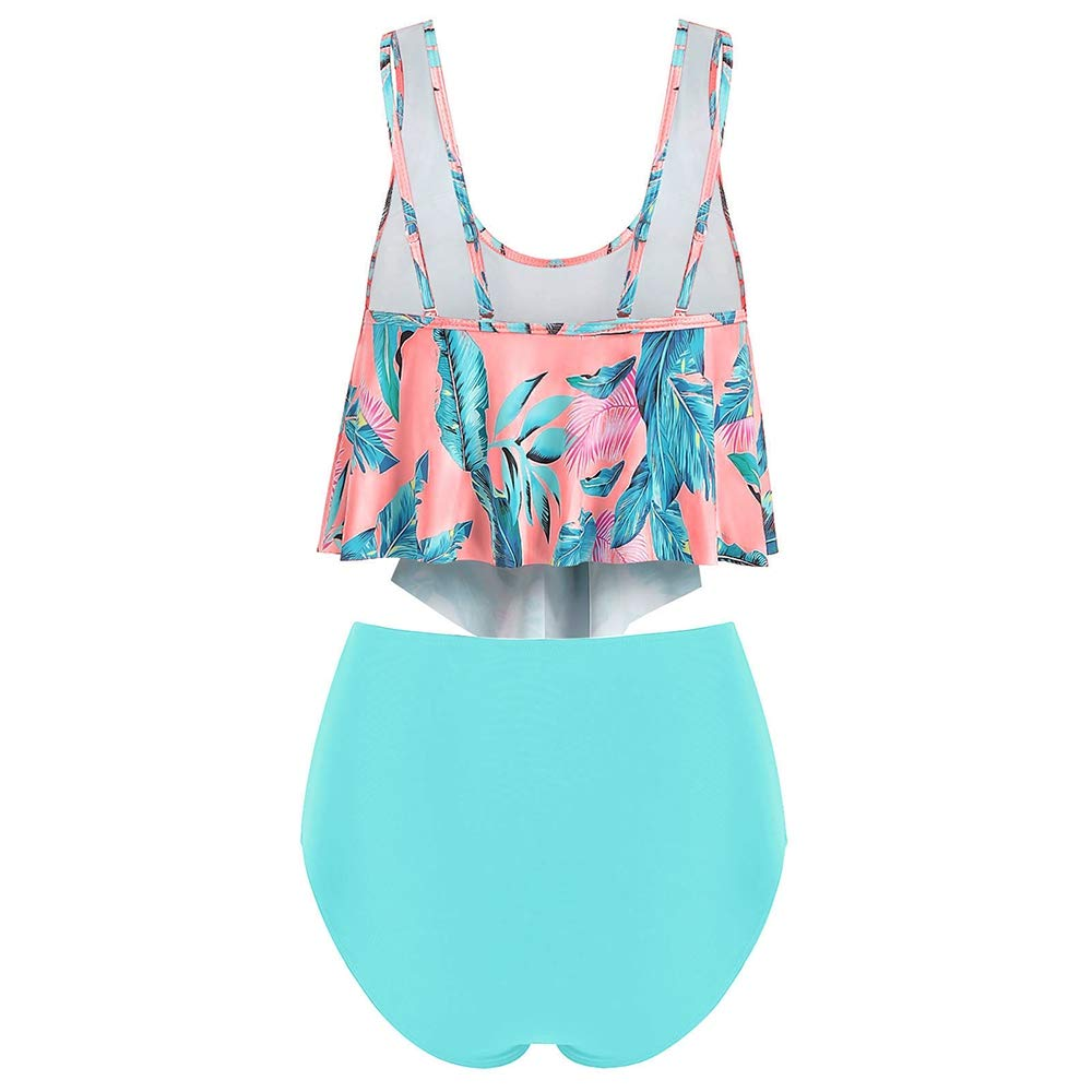 COMFKEY Plus Size Tankini Swimsuits for Women with Tummy Control High Waisted Shorts Ruffled Racerback Leaf Print
