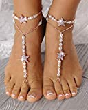 Gold Barefoot Sandal Wedding, Rose Gold Barefoot Sandal Starfish, Bridal Footless Sandals, Anklets for Women, Wedding Foot Jewelry Barefoot