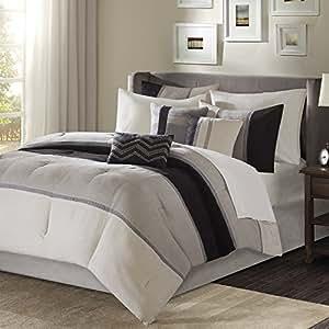 Palisades 7 Piece Comforter Set Black Queen