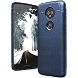 Annure® Back Cover Case for Moto E5 Plus (Blue Leather Look)