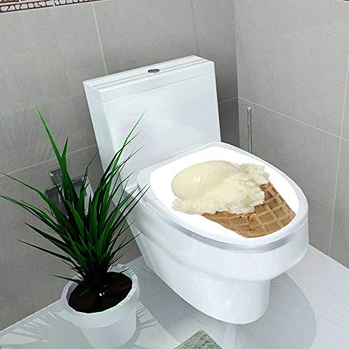 Auraise-home Toilet Seat Decal Vinyl Vanilla ice Cream Scoop in a Waffle Cone Decal Sticker for Toilet Decoration W14 x L14