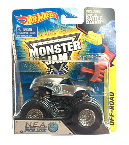 N.E.A. NEA POLICE COP MONSTER JAM TRUCK DIECAST HOT WHEELS 2015 BATTLE SLAMMER