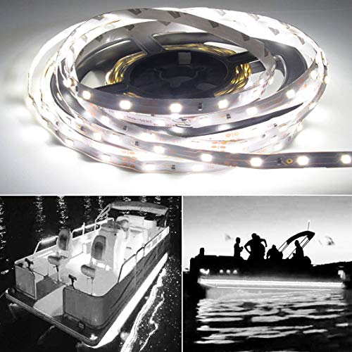 Boat Jon Package (Seapon Pontoon Boat Light, Marine Led Light Strip for Duck Jon Bass Boat Sailboat Kayak Led Flex Lighting for Boat Deck Light Accent Light Courtesy Interior Lights Fishing Night, White,12v, 5m(16.4ft))