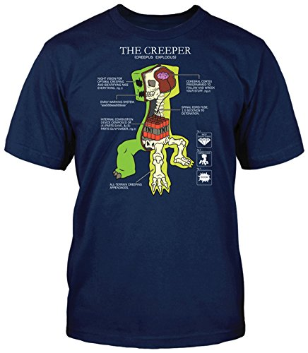 Creeper Anatomy - Minecraft Youth T-shirt Medium - Navy Blue