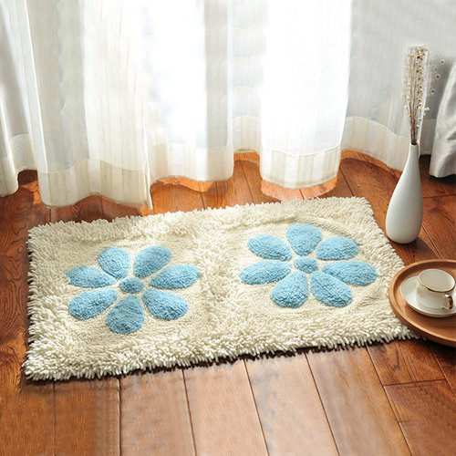 Cotton bathroom water-absorbing mats household mats non-slip door mat bathroom mat -5080cm d by ZYZX