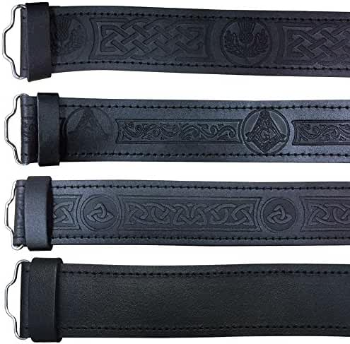 Scottish Highland Black Leather Masonic, Thistle, Plain, Rampant Lion and Celtic Kilt Belts