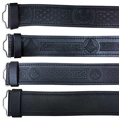 Scottish Highland Black Leather Masonic, Thistle, Plain and - Belt Buckle Kilt