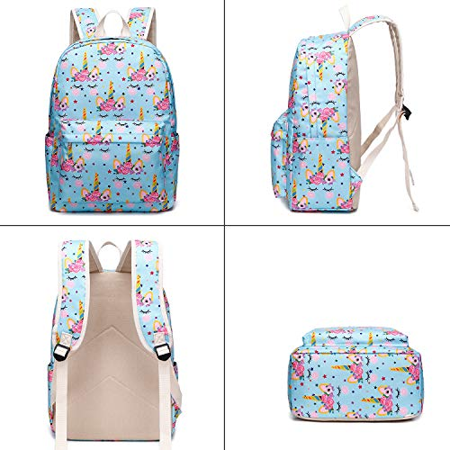 99018576b13 CAMTOP School Backpack for Girls Teens Bookbag Set Cute Student Backpack 3  In 1, School Bags + Lunch Box + Pencil Case (Light Blue-2)