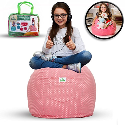 Large Stuffed Animal Storage Bean Bag Cover for Kids Room - Stuff'n sit Toys Organizer which can be used as Chair - High Quality Cotton - Store Extra Blankets & Pillow too (Pink) (Market Basket Hours New Years Day)