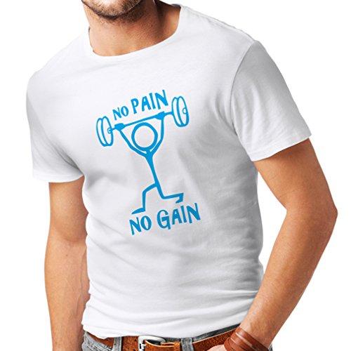Mens Black Shazam Boots (T shirts for men No Pain No Gain - clothes for daily wear - Workout, Crossfit, Gym - motivational sports quotes (XXXXX-Large White Blue))