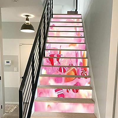 FCFLXJ Candy House Escaleras Adhesivos Mejoras para El Hogar Decoración Material Tienda 3D Tridimensional Escaleras Escaleras Pegatinas: Amazon.es: Hogar