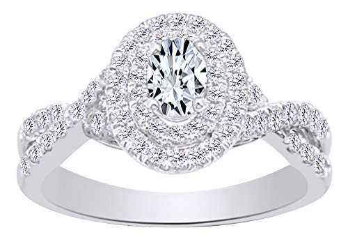 0.62 CT White Natural Diamond Oval Shape Twist Shank Double Halo Engagement Wedding Ring In 14k White Gold With Ring Size 4.5