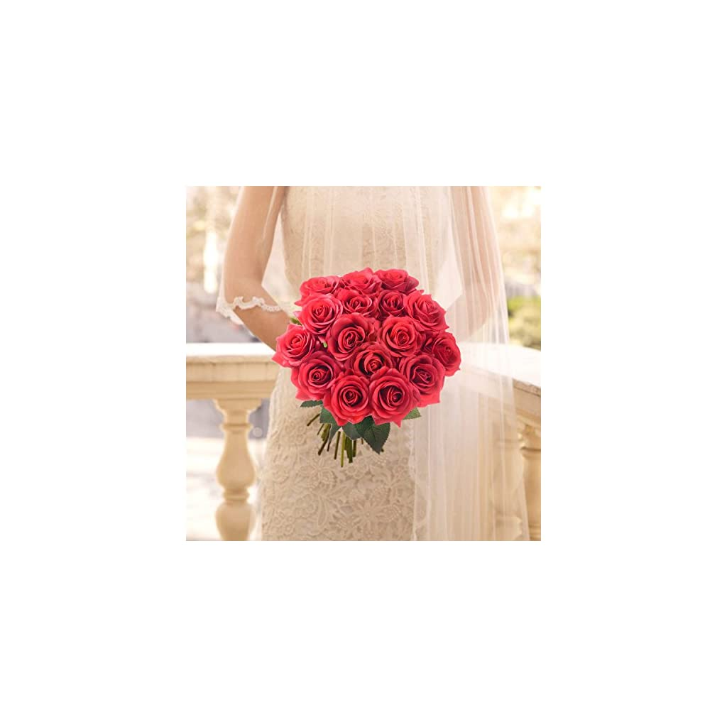 Lvydec Artificial Flowers Silk Rose Flowers – 12 Pcs Red Roses Fake Flowers Real Touch Bridal Wedding Bouquet for Home Wedding Decoration Garden Party Floral Decor