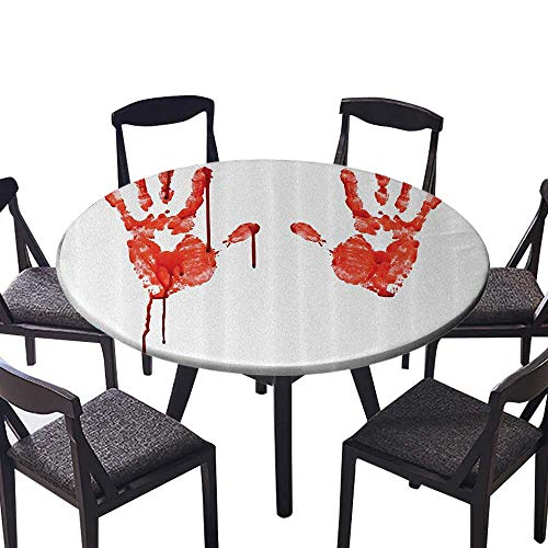 Simple Modern Round Table Cloth Hand Like Wanting Help Halloween Horror Scary Spooky Flowing Blood Themed or Everyday Dinner, Parties 55