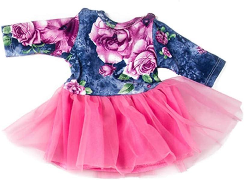 Vestido Floral Estampado Moda con Falda de Gasa Tutu para 18 Pulgadas Mu/ñeca Americana Chica Gusspower