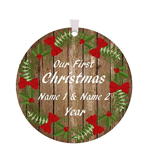 - The Trendy Turtle Personalized 2019 Our First Christmas Ornament with Wreath and Red Bows Design Acrylic Christmas Tree Ornament Gift with Your Choice of Custom Names - 3.5 inches